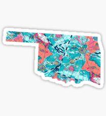 Watercolor Mapped Oklahoma Sticker