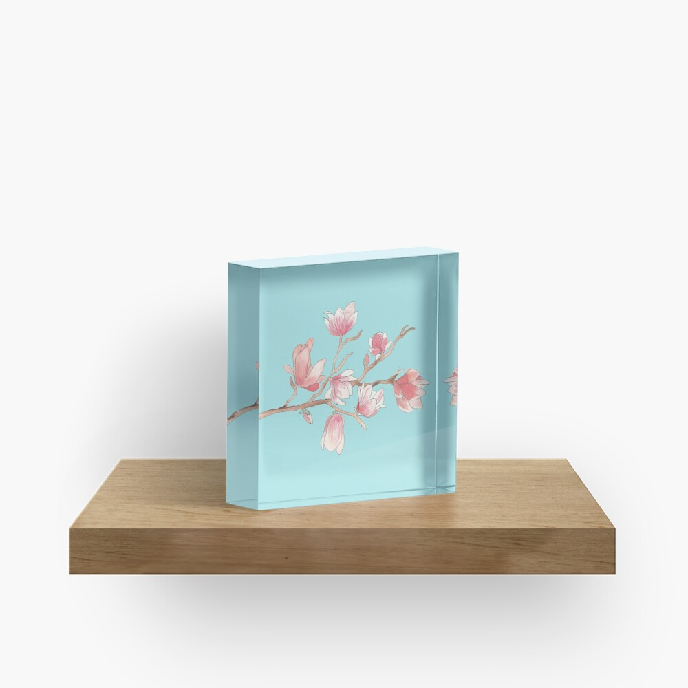 Watercolour Magnolia Acrylic Block