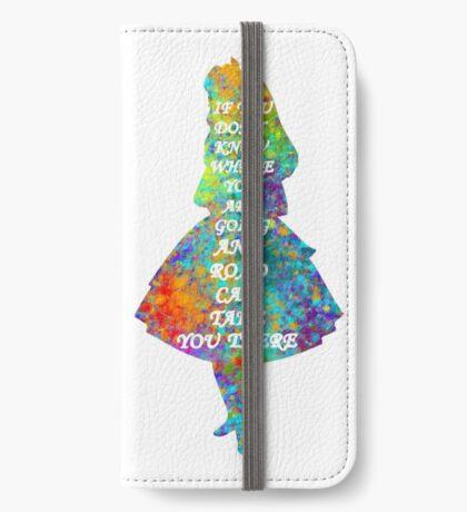 Alicia en el país de las maravillas - Cita - Acuarela colorida Funda tarjetero para iPhone