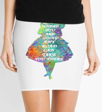 Alicia en el país de las maravillas - Cita - Acuarela colorida Minifalda