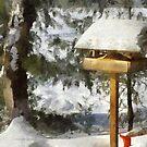 Birdfeeder in Winter by Claire Bull