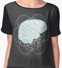Human brain illustration. Tribal with atom sign Chiffon Top
