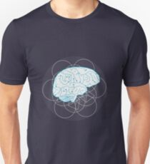 Human brain illustration. Tribal with atom sign Unisex T-Shirt