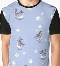Snowfall Wolf Pattern Graphic T-Shirt