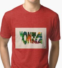 Montana Typographic Watercolor Map Tri-blend T-Shirt