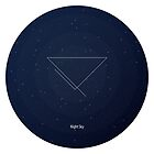 Blue night sky. Figure: triangle with incomplete lines. Modern design with mathematical and geometrical features. Space navy blue background by aquapixel