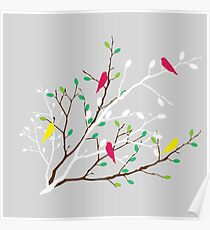 White & brown branch with the colorful green and orange leaves and colorful birds Poster
