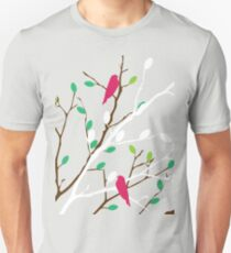 White & brown branch with the colorful green and orange leaves and colorful birds T-Shirt