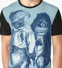 Ice Skating Owls - Adriaen Pietersz van de Venne - Blue Tone Graphic T-Shirt