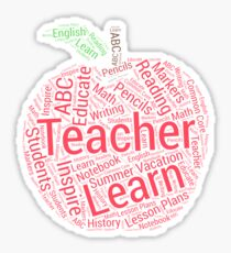 Apple Typography Art For Teachers Sticker