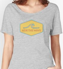Ride the Wave - Vintage Surf Sticker Women's Relaxed Fit T-Shirt