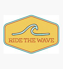 Ride the Wave - Vintage Surf Sticker Photographic Print