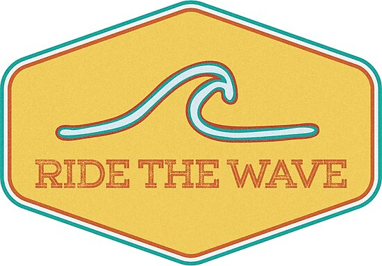 Quot Ride The Wave Vintage Surf Sticker Quot Photographic Print