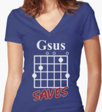 Gsus Saves Chord T-Shirt, Funny Guitar Lover Gift Women's Fitted V-Neck T-Shirt