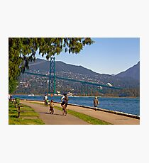 Lions Gate Bridge view from Seawall Path, Stanley Park, Vancouver Photographic Print