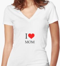 i heart mom  Women's Fitted V-Neck T-Shirt