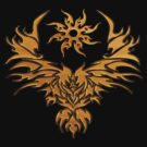 Tribal Art Eagle T-shirt gold by Walter Colvin