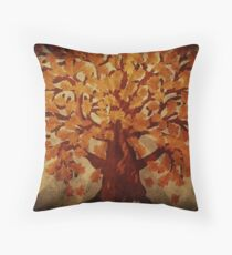 Grunge autumn oak tree Throw Pillow