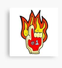 flaming foam hand Canvas Print