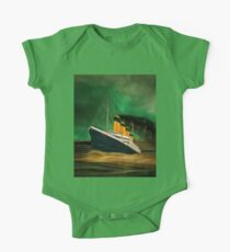 RMS Titanic (bow quarter view) with a Green Sky One Piece - Short Sleeve
