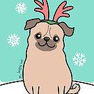 Pug Wearing Reindeer Antlers by Zoe Lathey