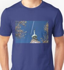Aeroplane contrails and cross T-Shirt