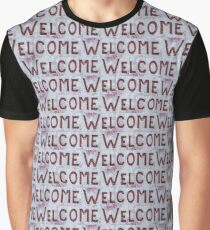 Welcome Letters Pattern Graphic T-Shirt