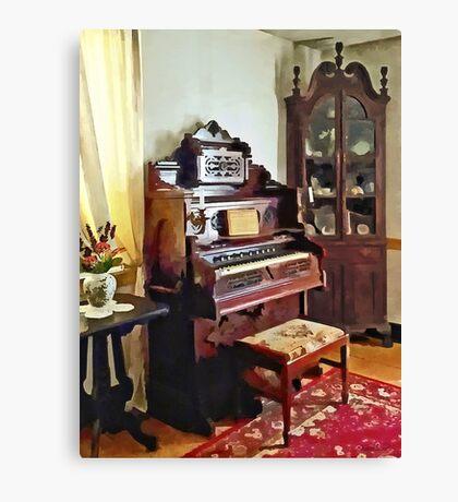 Organ in Victorian Parlor with Vase Canvas Print