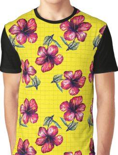 Yellow Hibiscus Pattern Graphic T-Shirt