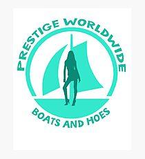 Prestige Worldwide. Company logo, boats and hoes (ho's) Photographic Print