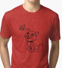 Cat baby sweet sweet butterfly Tri-blend T-Shirt