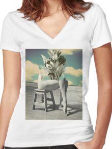 She's Gone Women's Fitted V-Neck T-Shirt