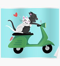 Scooter Cats in Love Poster