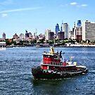 Philadelphia PA - Tugboat by Philadelphia Skyline by Susan Savad