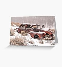 Auto in Snowstorm Greeting Card