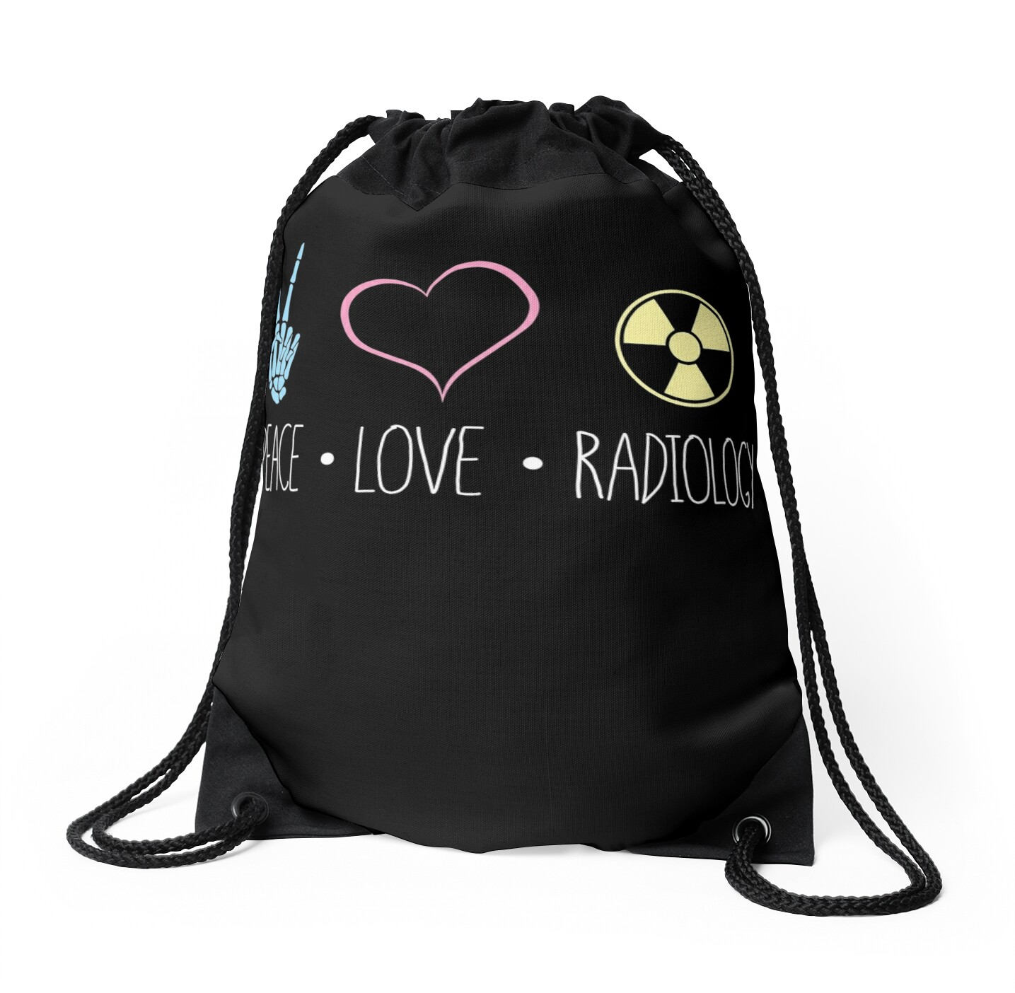 Peace love and radiology rad tech rt drawstring bags by scott peace love and radiology rad tech rt by scott jay buycottarizona Image collections