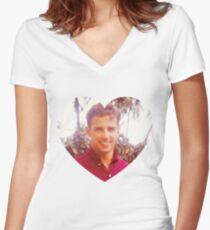 Young Joe Biden Love Women's Fitted V-Neck T-Shirt