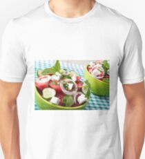 Useful vegetarian salad with raw tomatoes, cucumbers and onions T-Shirt
