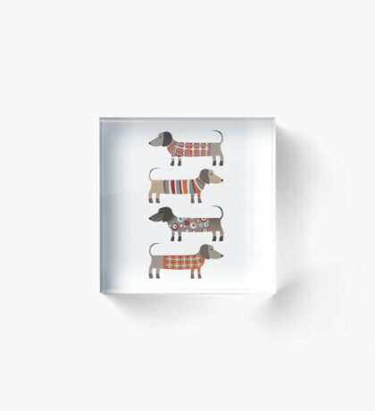 Sausage Dogs in Sweaters Acrylic Block
