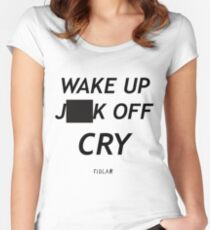 FIDLAR WAKE UP )(%*$ OFF CRY  Women's Fitted Scoop T-Shirt