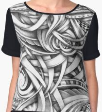 Escher Like Abstract Hand Drawn Graphite Gray Depth Women's Chiffon Top