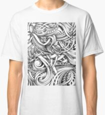 Escher Like Abstract Hand Drawn Graphite Gray Depth Classic T-Shirt