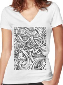 Escher Like Abstract Hand Drawn Graphite Gray Depth Women's Fitted V-Neck T-Shirt