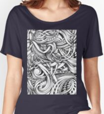 Escher Like Abstract Hand Drawn Graphite Gray Depth Women's Relaxed Fit T-Shirt