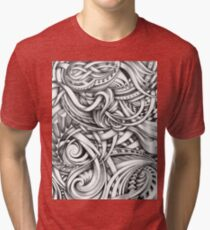 Escher Like Abstract Hand Drawn Graphite Gray Depth Tri-blend T-Shirt