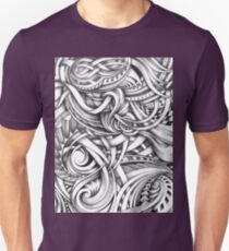 Escher Like Abstract Hand Drawn Graphite Gray Depth T-Shirt