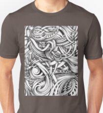 Escher Like Abstract Hand Drawn Graphite Gray Depth Unisex T-Shirt