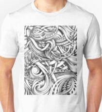 Escher Like Abstract Hand Drawn Graphite Gray Depth T-Shirt