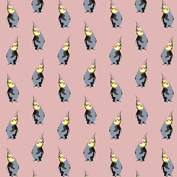 Cockatiel textile pattern (digital illustration) | dusty rose by alisadraws