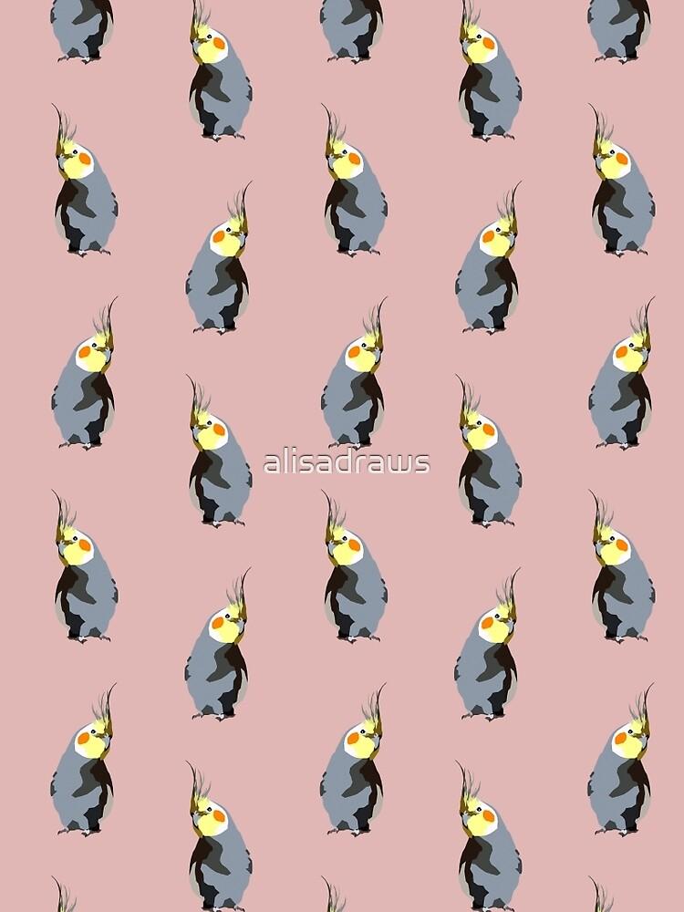 Nymphensittich-Textilmuster (digitale Illustration) | staubige Rose von alisadraws